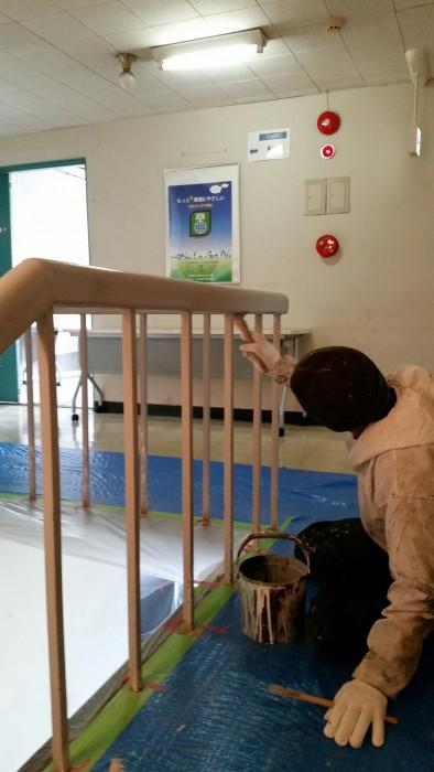 2017.3月中旬 川越市 工場施設事務棟 室内階段手摺り 塗装工事